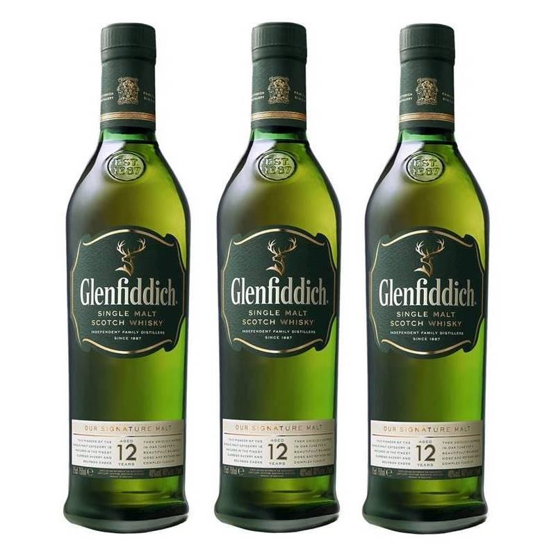 Whisky Glenfiddich 12 Anos 750ml Com Cartucho 03 Unidades