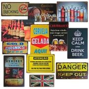 Placa Decorativa Metal Retrô - Vintage - Bar Bebidas
