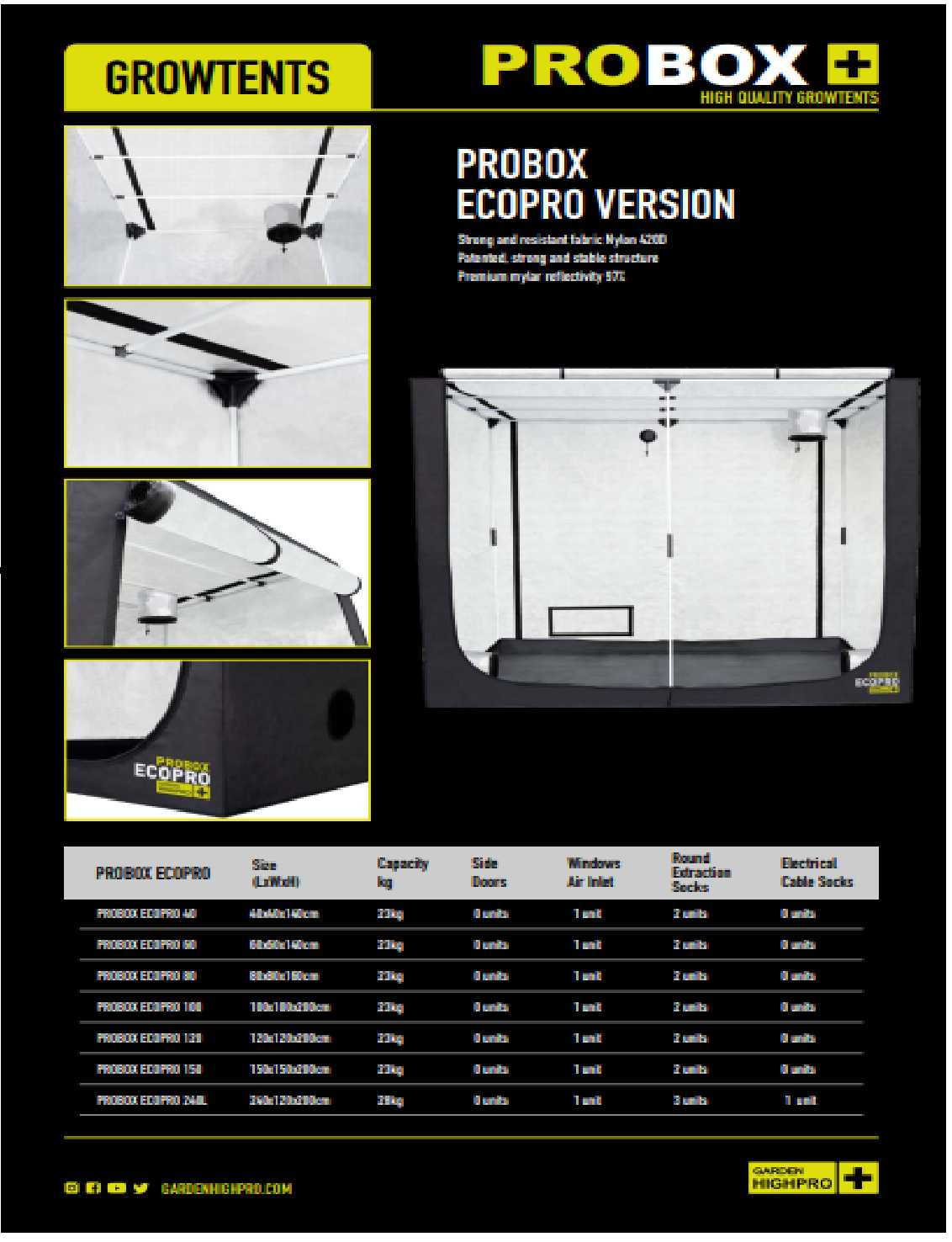 Tenda ProBox GHP 80 Ecopro Barraca Growroom Estufa