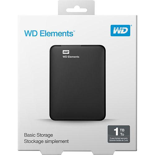 HD WD EXTERNO PORTÁTIL ELEMENTS 1TB - WDBEPK0010BBK