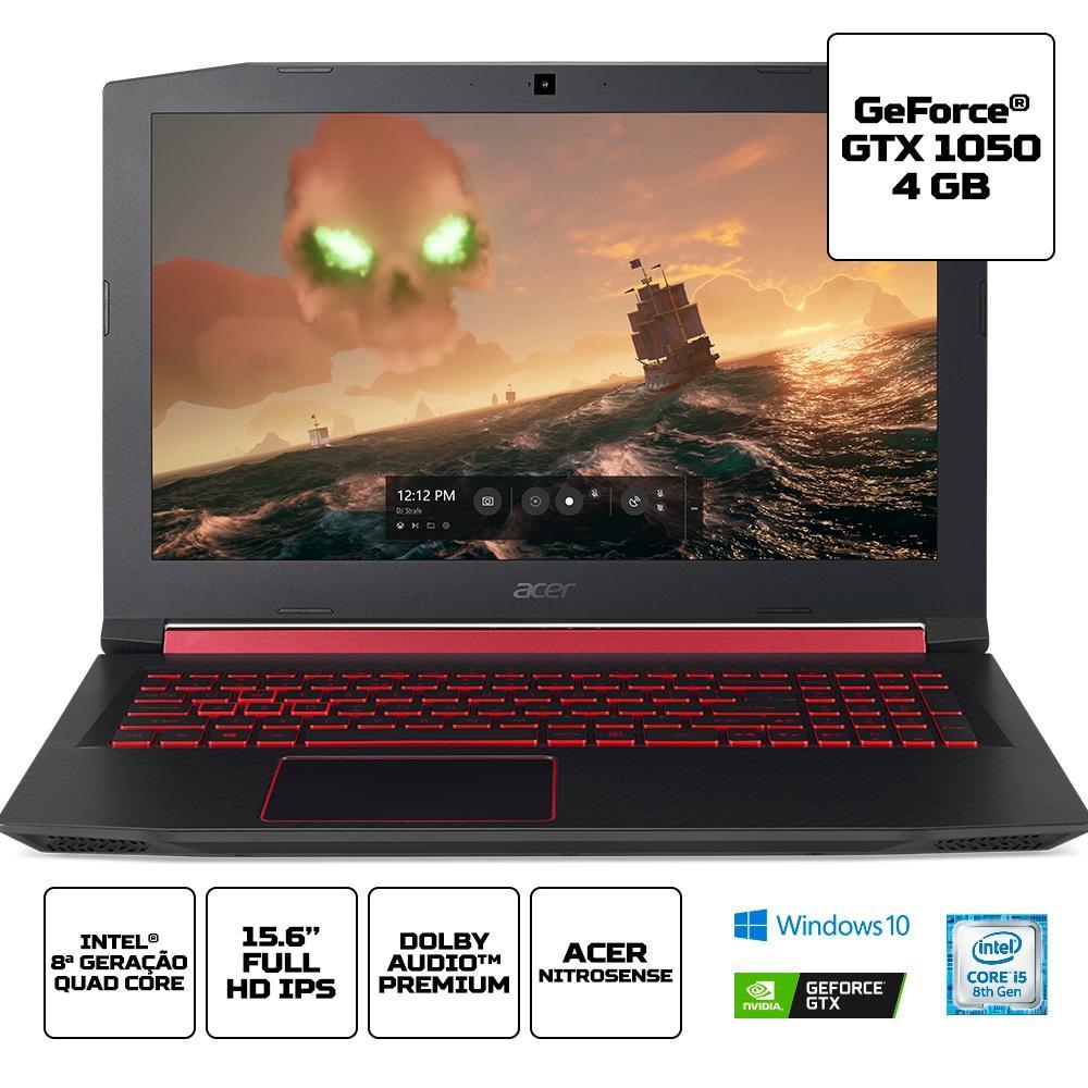 Notebook Gamer Acer Aspire Nitro 5, Intel Core i5-8300H, 8GB, HDD 1TB, SSD 128GB, NVIDIA GeForce GTX 1050 4GB, Windows 10 Home, 15