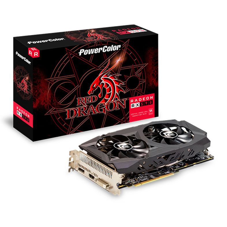 Placa de Video Power Color Radeon RX 590 8GB RED Dragon DDR5 256 BITS -  AXRX 590 8GBD5-DHD