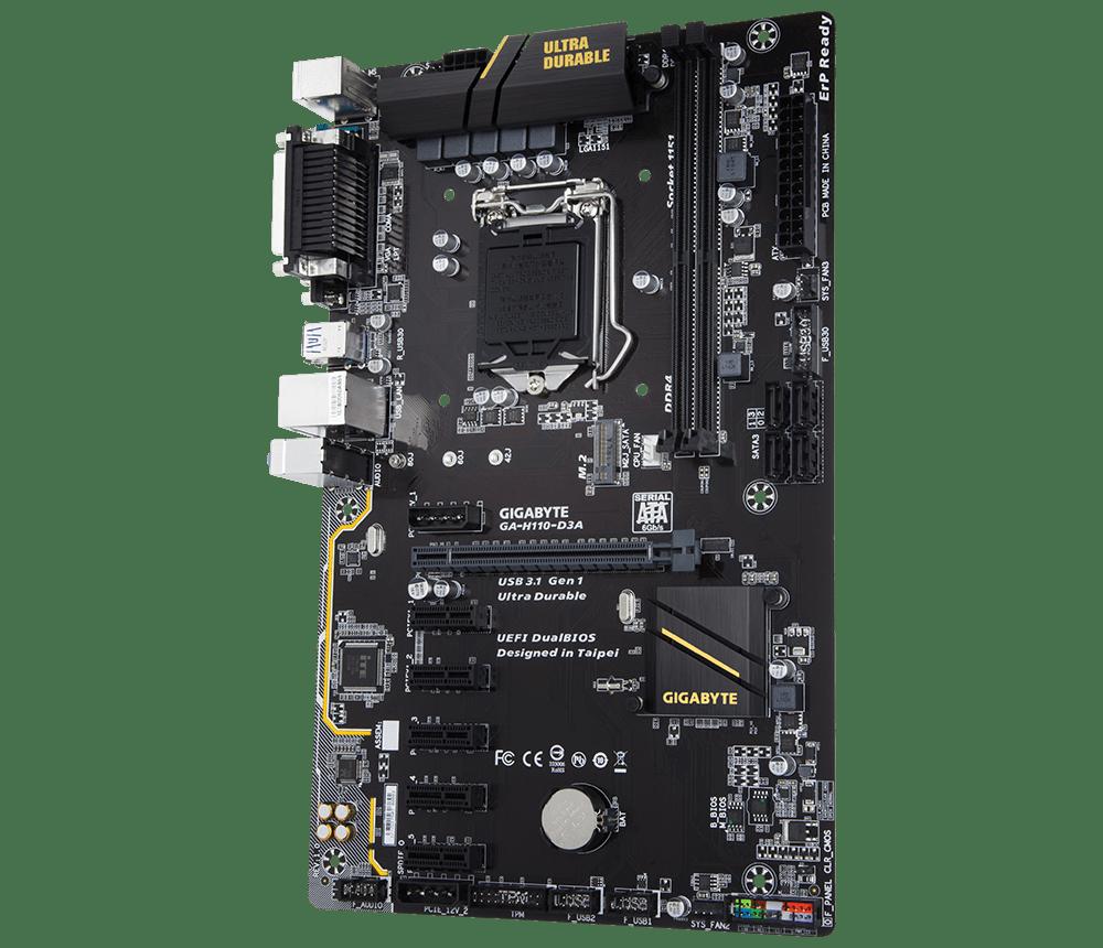 Placa Mae Gigabyte H110 ATX (1151) DDR4 - GA-H110-D3A - 7A GER/6A GER (mineracao)