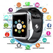 A1 Relógio Inteligente Smart Watch Bluetooth  Face e WhatsApp Android S7 Preto