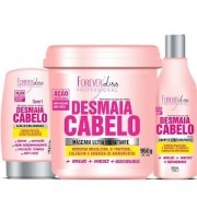 Kit Desmaia Cabelo Forever Liss Máscara 950g + Shampoo 500ml + Leave-in 150g