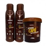 Kit Máscara Bomba De Café Glatten 500g Shampoo Condicionador