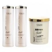 Ykas Escova Progressiva Kit Ouro 1 Litro + Botox 1 Kg