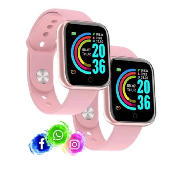 2 Relogio Inteligente Smartwatch D20 Rosa WhatsApp Insta