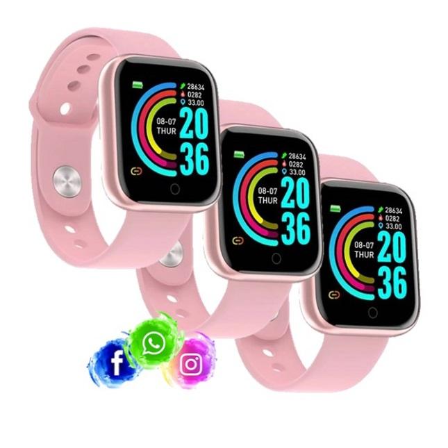 3 Relogio Inteligente Smartwatch D20 Rosa WhatsApp Insta