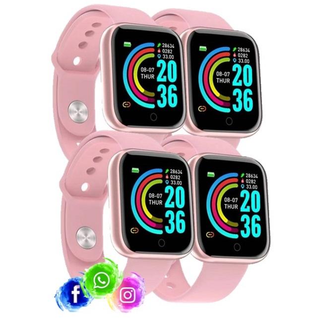 4 Relogio Inteligente Smartwatch D20 Rosa WhatsApp Insta