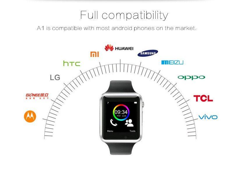 A1 Relógio Smartwatch Android Face e WhatsApp, Bluetooth, Camera