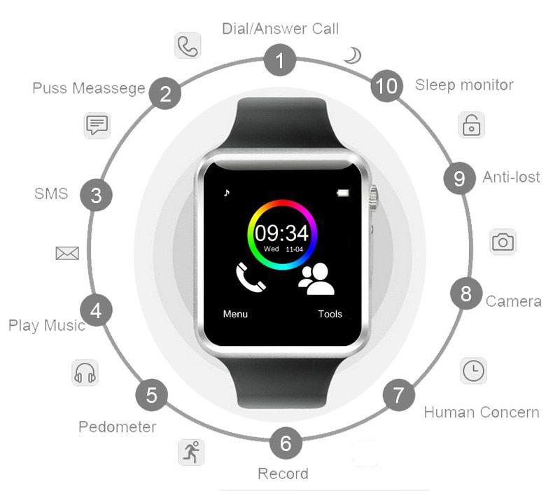 A1 Relógio Smartwatch,  Android, Notificações Face e WhattsApp Bluetooth  Camera