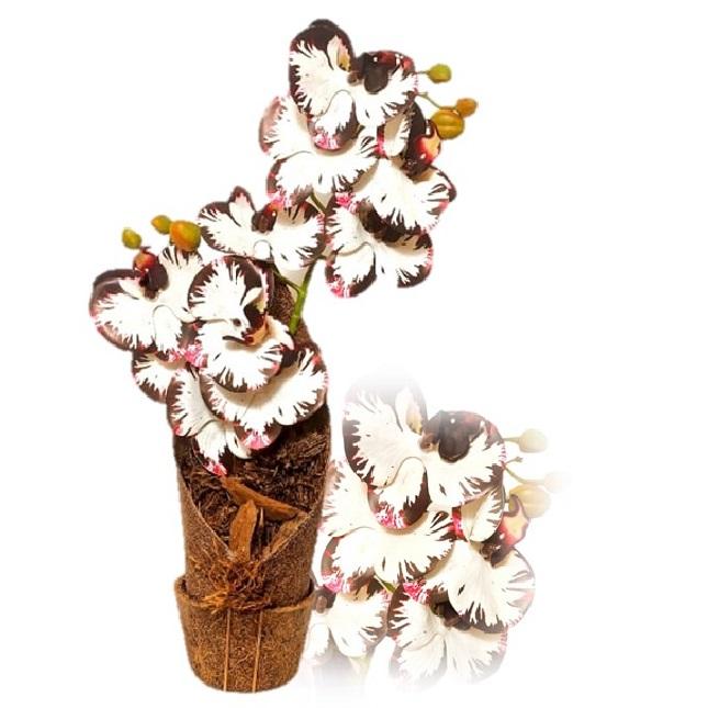 Arranjo de Orquídea Phalaenopsis Branca e Roxo Artificial