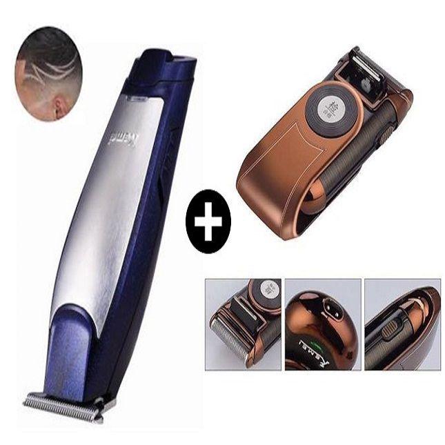 Barbeador  Portátil Km-q788 Bivolt + Máquina De Cortar Cabelo Barbear 110V Kemei Km-5021