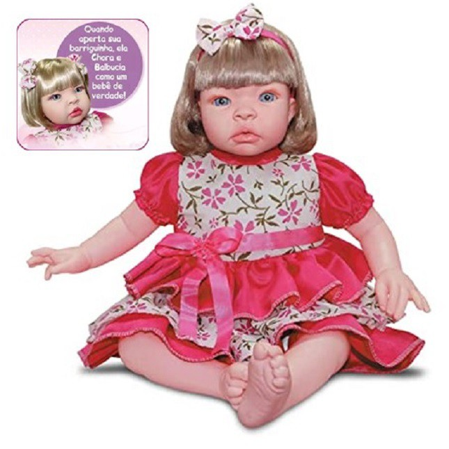 Bebê Boneca Estilo Reborn Loira Carrinho Acessórios