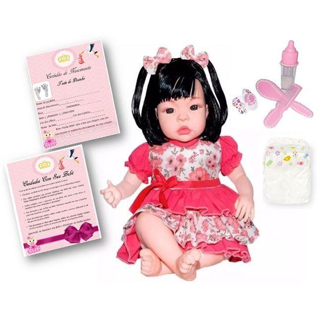 Bebê Boneca Estilo Reborn Morena