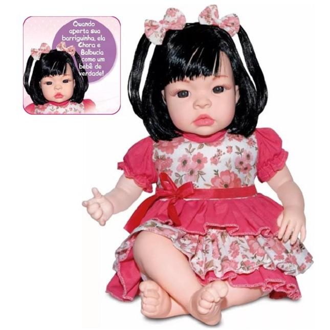 Bebê Boneca Estilo Reborn Morena Carrinho Acessórios