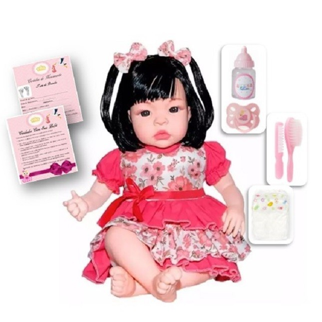Bebê Boneca Estilo Reborn Morena e Acessórios