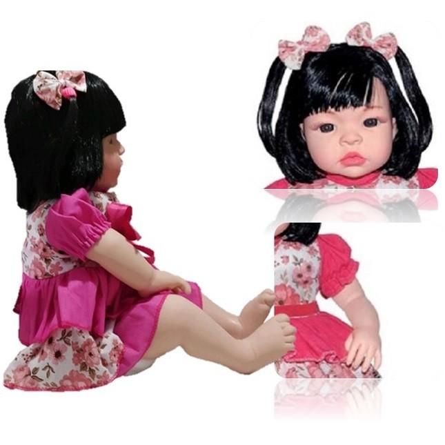 Bebê Boneca Morena Estilo Reborn Baby Kiss