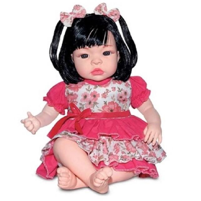 Bebê Boneca Morena Estilo Reborn Baby Kiss Sem Som