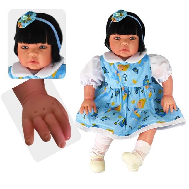 Bebê Reborn Caterine Cinderela Azul Refletindo