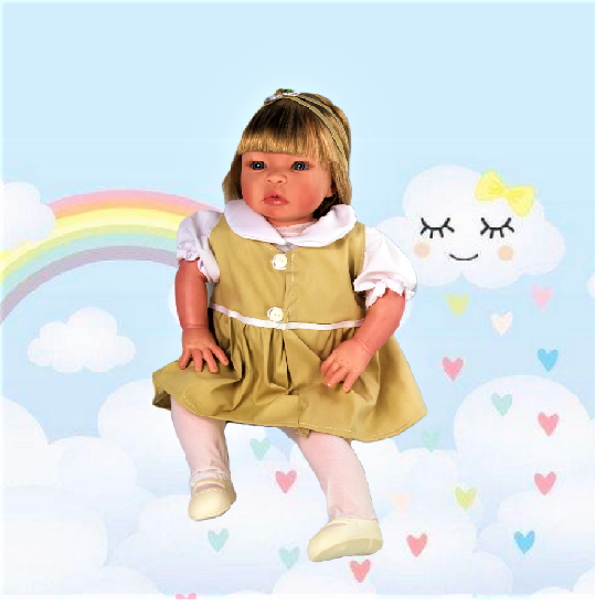 Bebê Reborn Helena Uniforme Escolar Refletindo