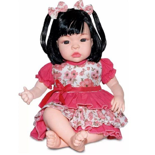 Boneca Baby Kiss Estilo Reborn Morena