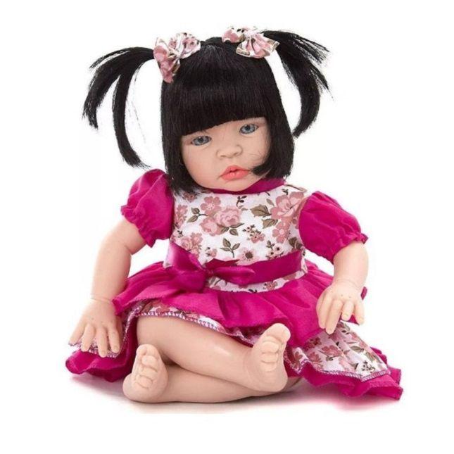 Boneca Bebê Estilo Reborn Morena