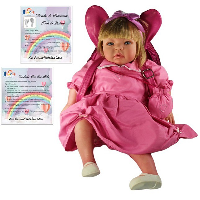 Boneca Bebê Reborn Helena Festa e Mochila Refletindo
