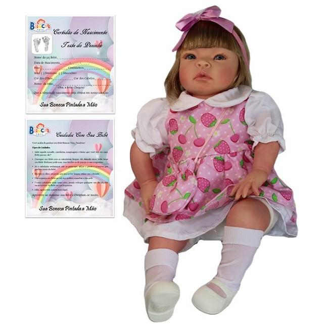Boneca Bebê Reborn Helena Morango Refletindo