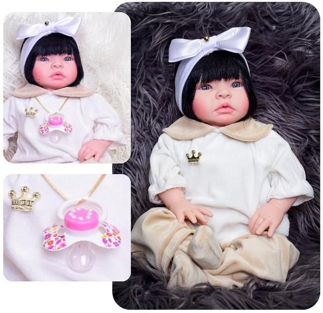 Boneca Bebê Reborn Lara Morena Refletindo Você