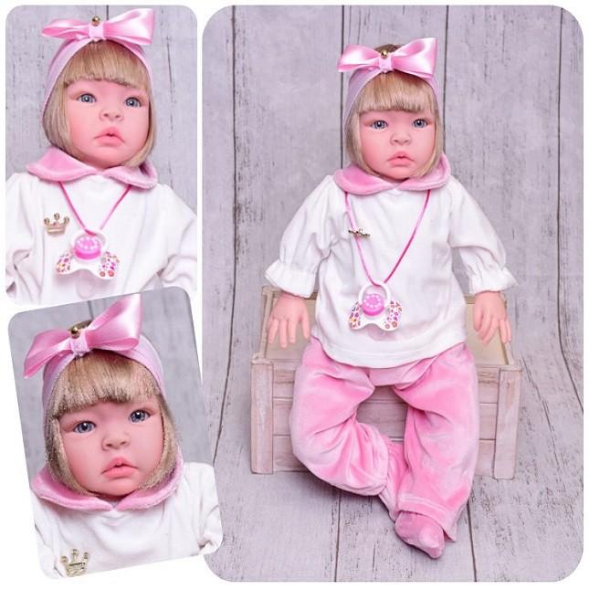 Boneca Duda Bebê Reborn Loira Refletindo