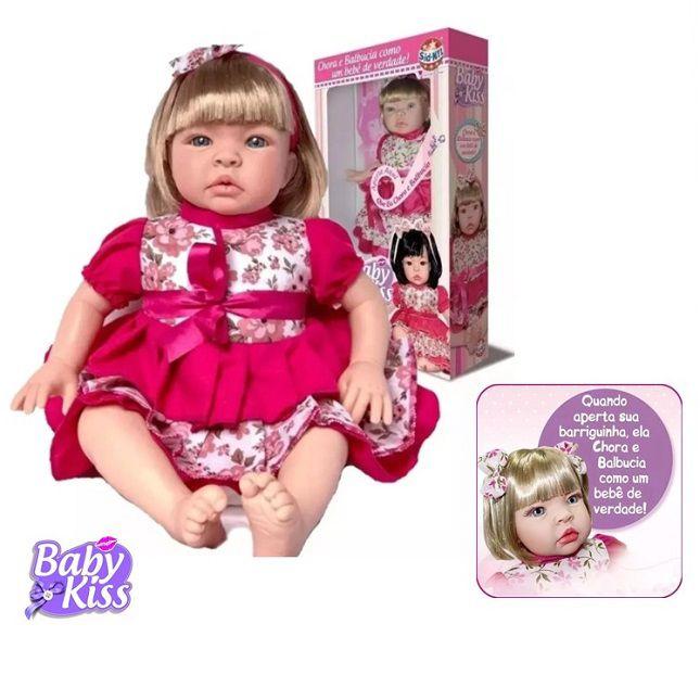 Boneca Estilo Reborn Baby Kiss  Loira