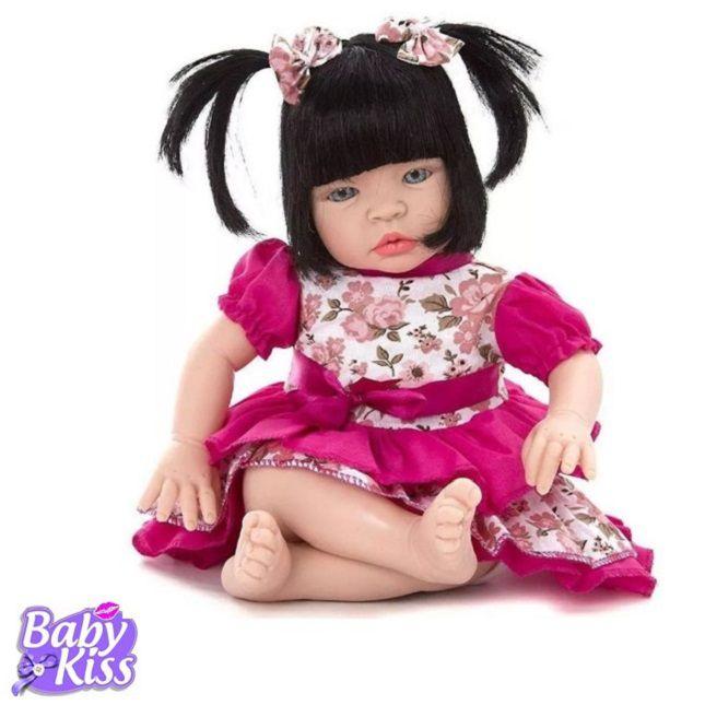 Boneca Estilo Reborn Baby Kiss  Morena