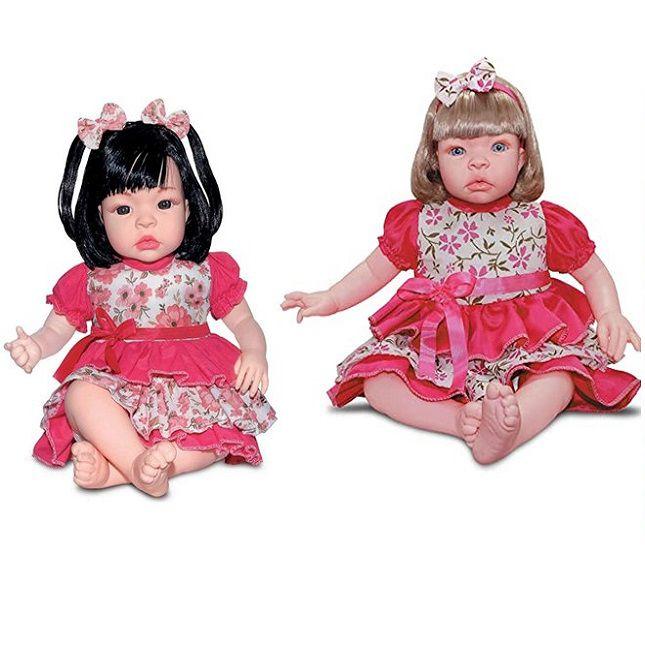 Boneca Gêmeas Baby Kiss Estilo Reborn Loira  e Morena