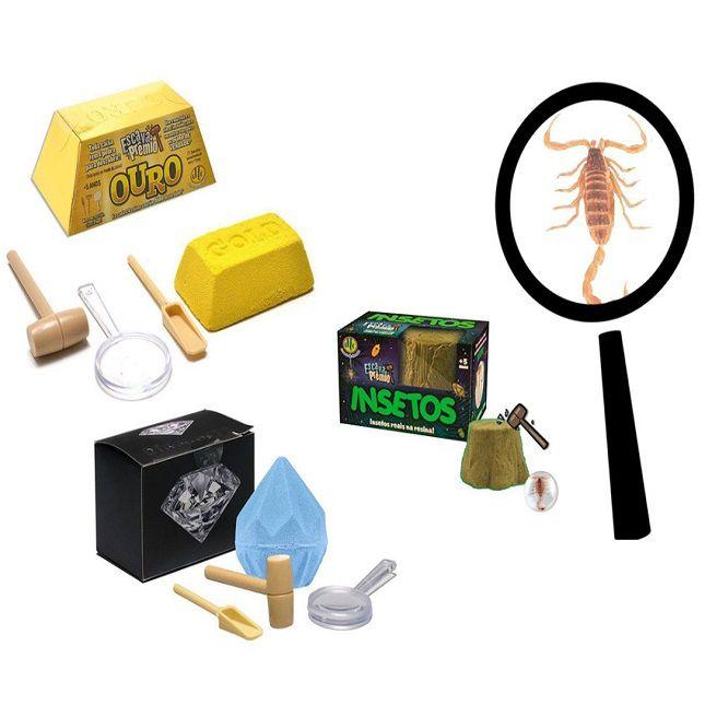 Brinquedo Escava Prêmio Diamante Ouro Insetos DTC