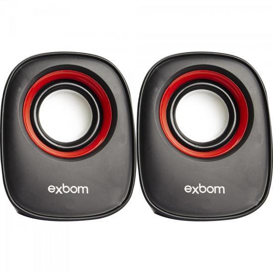 Caixa de som para PC Preta/Vermelha EXBOM