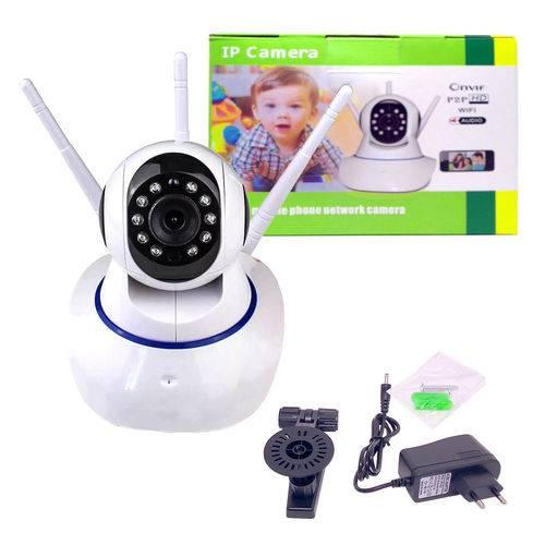 Câmera Ip 3 Antenas Wireless Sem Fio Wifi Hd Sensor Noturn0 Rotação App Smartphone