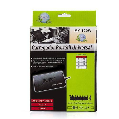 Carregador Notebook Universal Adaptador Com 8 Conectores - My-120w