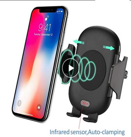 Carregador Veicular Sem Fio Inteligente Com Infravermelho Para SmartPhone