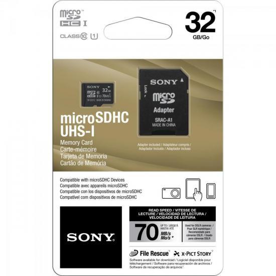 Cartão de Memória 32GB Micro SDHC com Adaptador CLASSE 10 SR