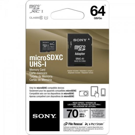 Cartão de Memória 64GB Micro SDXC com Adaptador CLASSE 10 SR