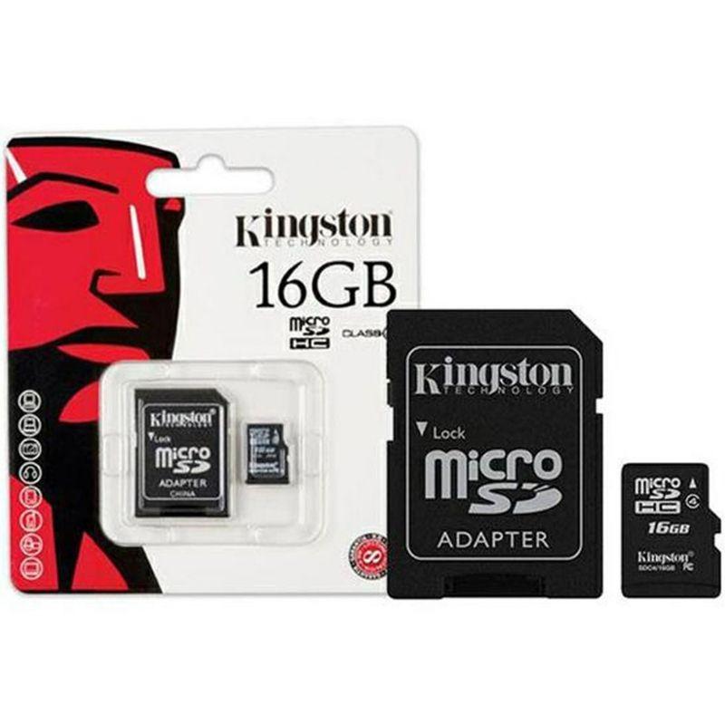 Cartão de Memória Kingston MicroSD 16GB Adaptador