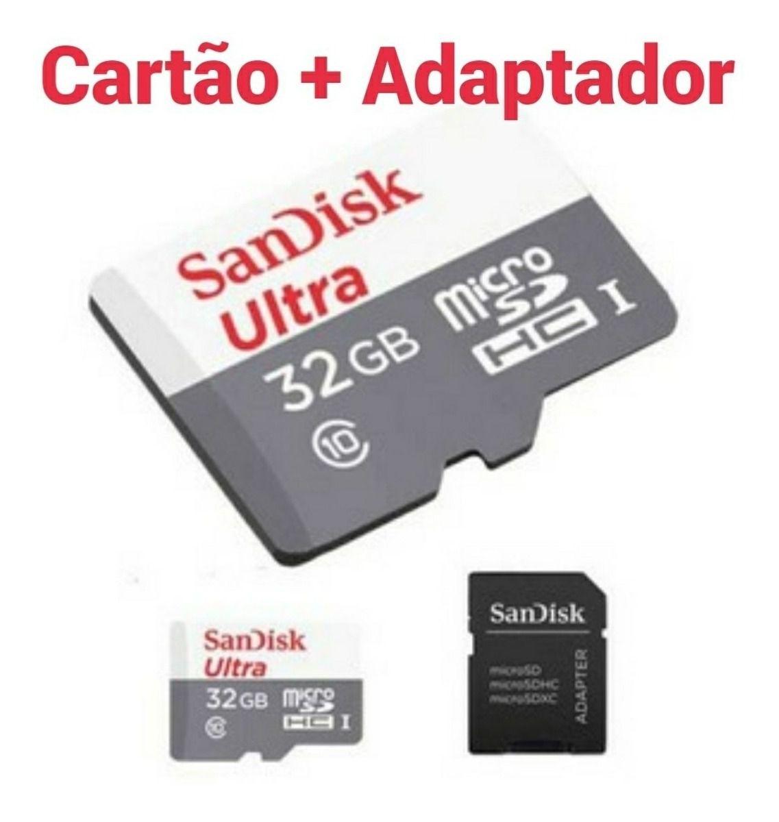 Cartão de Memória Micro SD SanDisk 32GB Classe 10 Ultra 80mb/s Original