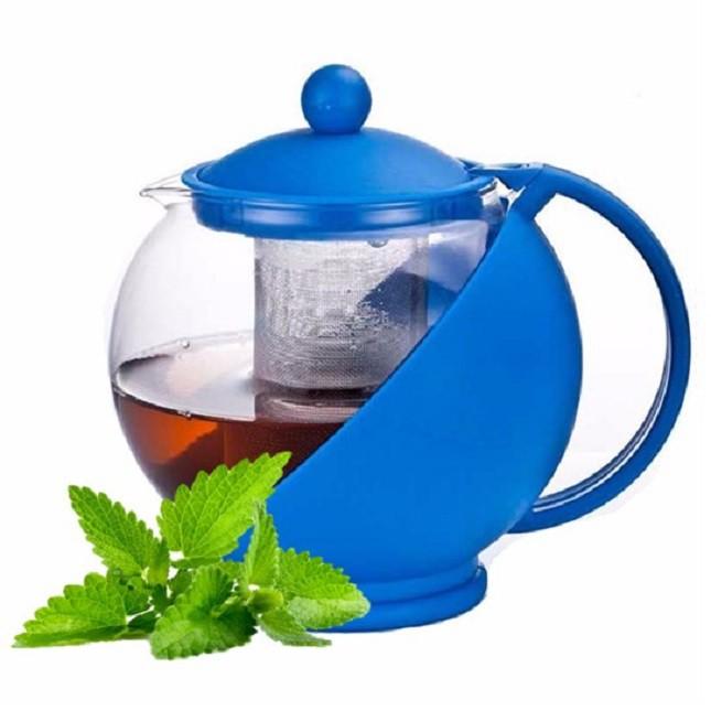 Chaleira Bule De Vidro Chá  Azul