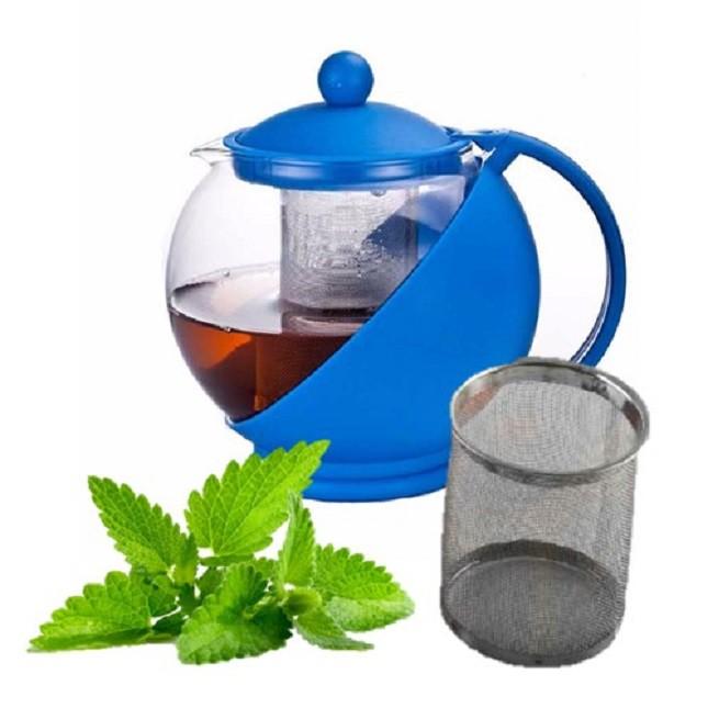 Chaleira Bule De Vidro Chá Com Infusor Azul