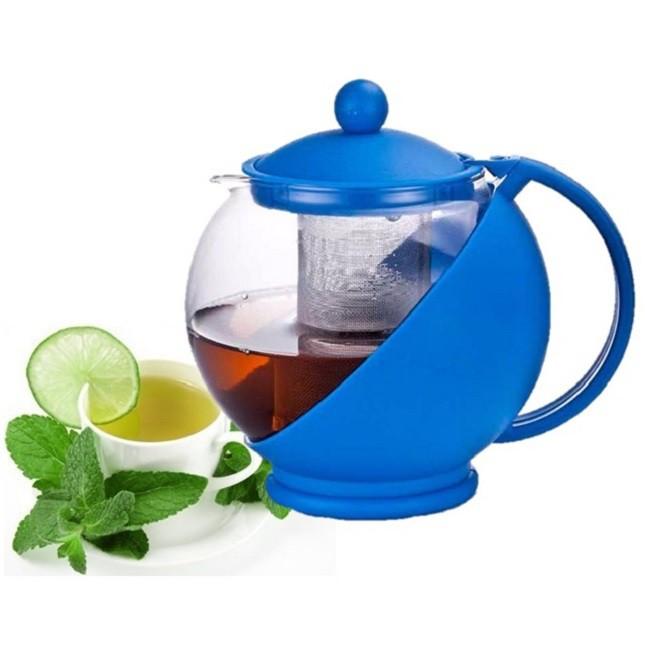 Chaleira Bule De Vidro Chá Com Infusor Azul Art House