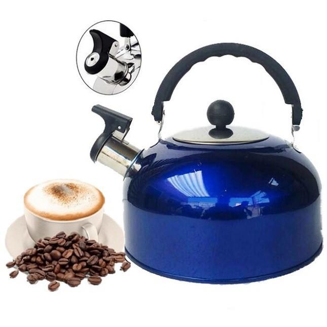 Chaleira de Inox Azul Café Chá com Apito 1,8 Lts