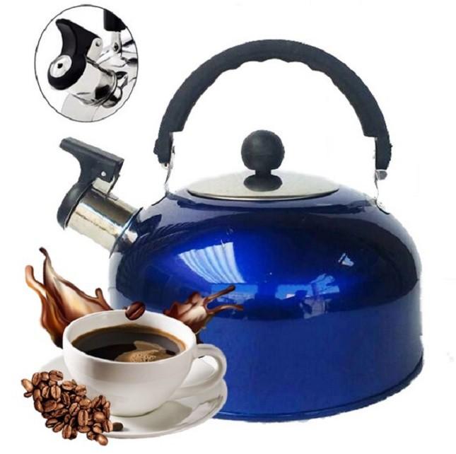 Chaleira de Inox Azul Chá Café 1,8 Lts com Apito