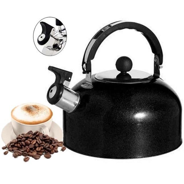 Chaleira de Inox Preto Café Chá com Apito 1,8 Lts